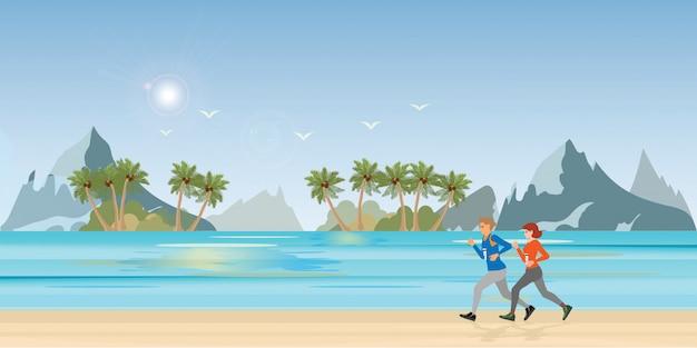 Casal correndo na paisagem de praia.
