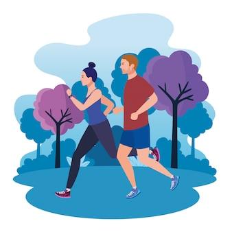 Casal correndo na paisagem do parque, casal correndo ao ar livre, casal no sportswear, movimentando-se na natureza
