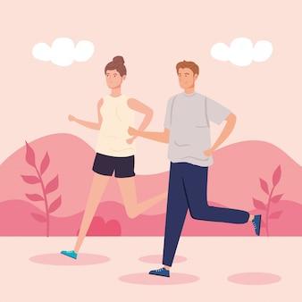 Casal correndo na paisagem natureza cena vector ilustração design