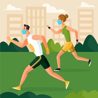 Casal correndo no parque usando máscaras médicas