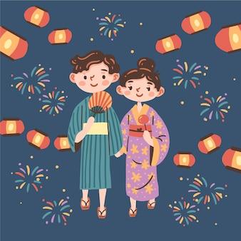 Casal curtindo festival japonês matsuri