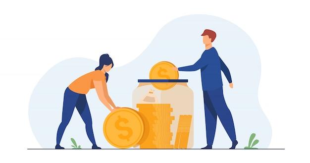Casal da família economizando dinheiro