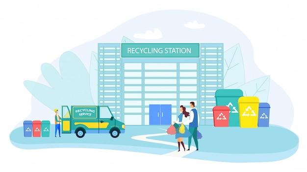 Casal da família leva lixo para a estação de reciclagem