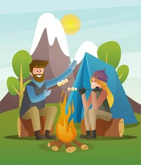 Casal da felicidade acampa e grelha na ilustração da natureza