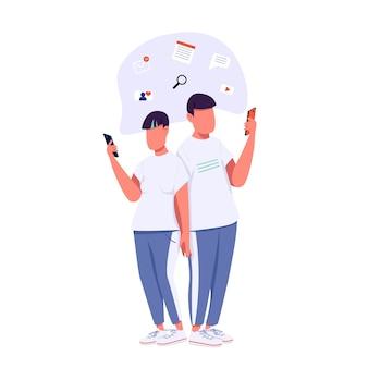 Casal da geração z se comunicando com personagens sem rosto em cores planas. estilo de vida da geração z. caucasianos navegando na ilustração dos desenhos animados isolados na internet para design gráfico e animação da web