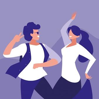 Casal dançando personagem avatar