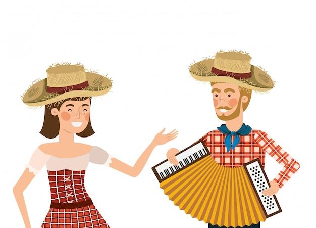 Casal de agricultores com instrumento musical