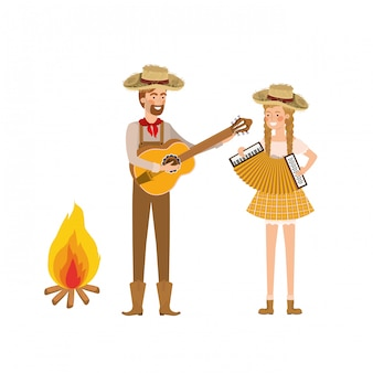Casal de agricultores com instrumentos musicais e fogueira