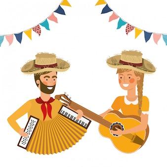 Casal de agricultores com instrumentos musicais