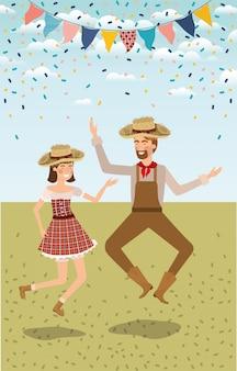 Casal de agricultores comemorando com guirlandas