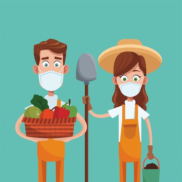 Casal de agricultores usando cena de máscaras médicas