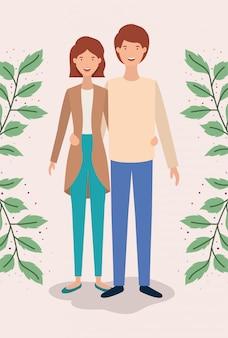 Casal de amantes com folhas coroa personagens