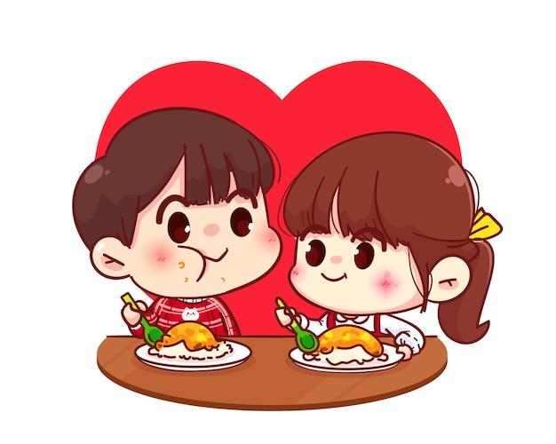 Casal de amantes comendo juntos, feliz dia dos namorados, ilustração de personagem de desenho animado