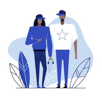 Casal de amantes de hip-hop