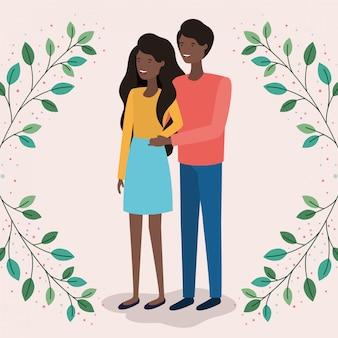 Casal de amantes negros com folhas coroa personagens