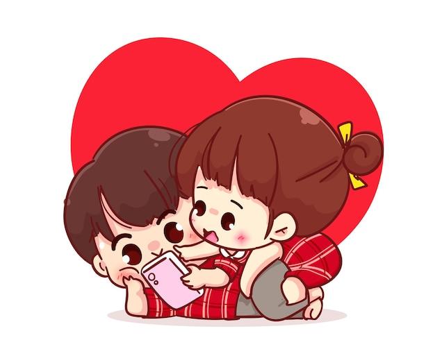 Casal de amantes olhando para o smartphone juntos, ilustração de personagem de desenho animado
