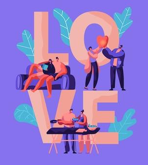 Casal de amantes relaxa no banner de tipografia de fim de semana. homem e mulher preparam salada para pôster de piquenique. menino e menina lançam a lanterna do céu no parque. personagem deitada no sofá, ilustração vetorial plana dos desenhos animados