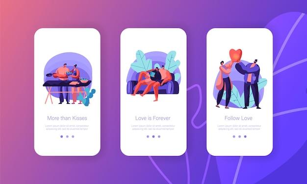 Casal de amantes relaxa no conjunto de tela de bordo de página de aplicativo móvel de lazer.