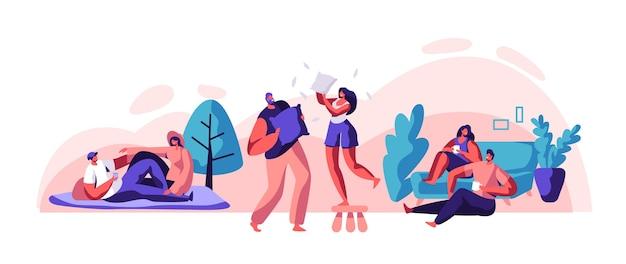 Casal de amantes relaxar passar algum tempo juntos definido. homem e mulher sentam-se no sofá confortável, bebem chá ou café. piquenique do casal feliz no parque da cidade. carefree pillow fight flat cartoon ilustração em vetor
