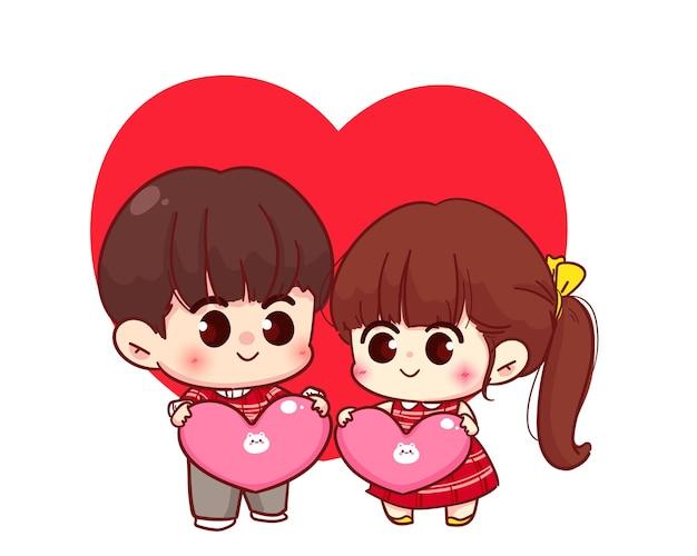 Casal de amantes segurando um coração, feliz dia dos namorados, ilustração de personagem de desenho animado