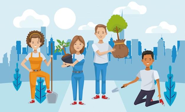 Casal de ambientalistas plantando personagens de árvores