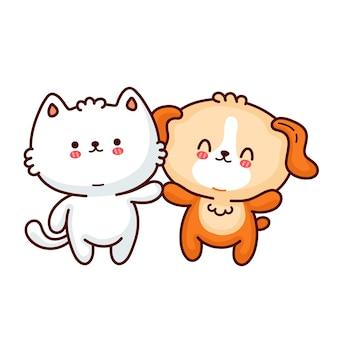 Casal de amigos de cachorro e gato bebê engraçado pequeno bonito. ícone de ilustração do vetor doodle linha cartoon personagem kawaii. isolado em um fundo branco. cão, gato, amigos, gatinho, cachorrinho, animal de estimação, conceito de logotipo do mascote do zoológico