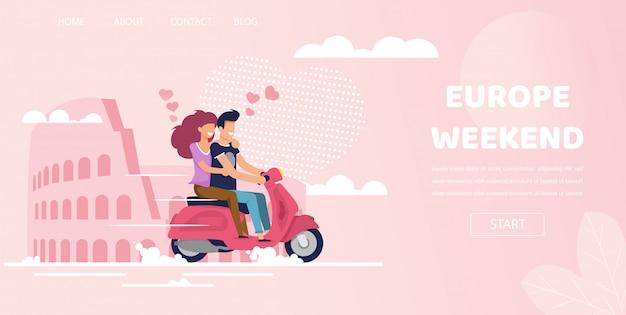 Casal de amor em roma itália europa viagem de fim de semana