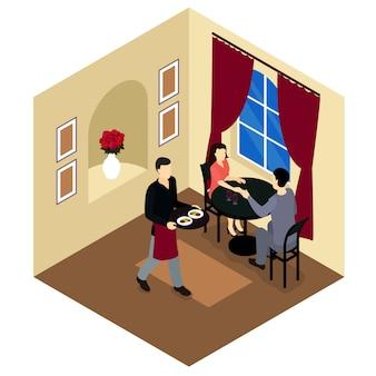 Casal de amor na composição isométrica de restaurante