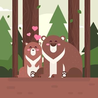 Casal de animais adorável dia dos namorados