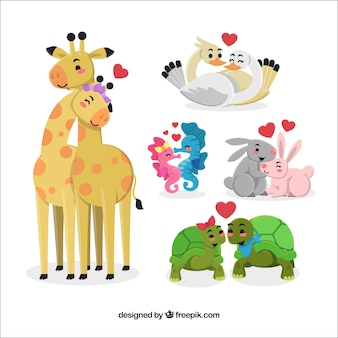 Casal de animais definido para namorados