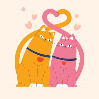 Casal de animais do dia dos namorados desenhado à mão
