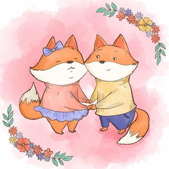 Casal de animais em aquarela de dia dos namorados