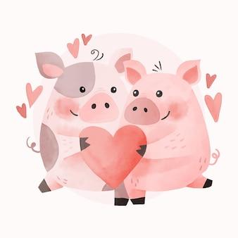 Casal de animais em aquarela do dia dos namorados