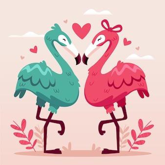 Casal de animais fofos do dia dos namorados com flamingos
