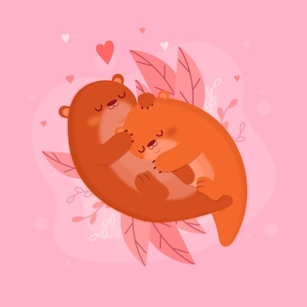 Casal de animais plana lontras do dia dos namorados
