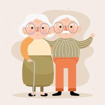 Casal de avós idosos