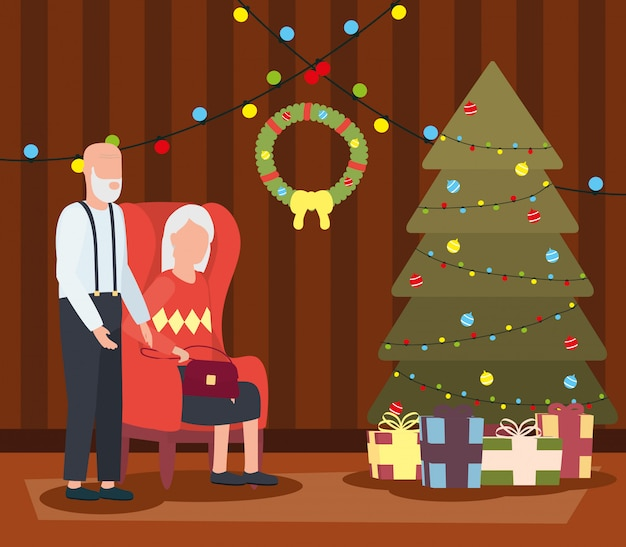Casal de avós na sala de estar com decoração de natal