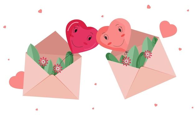 Casal de balão de coração de desenho animado em um envelope diferente decorado com flores