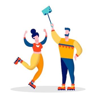 Casal de bloggers casados vector plana ilustração