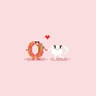Casal de café e donut de desenho animado pixel