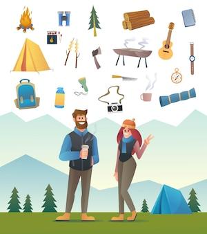 Casal de campista turista com ilustração de equipamento de acampamento