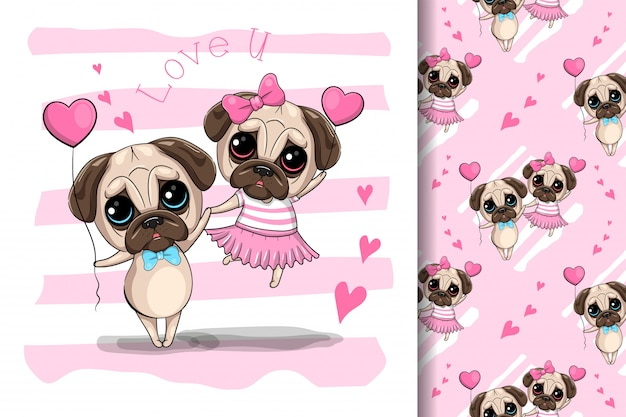 Casal de cão pug bonito dos desenhos animados, ilustração vetorial