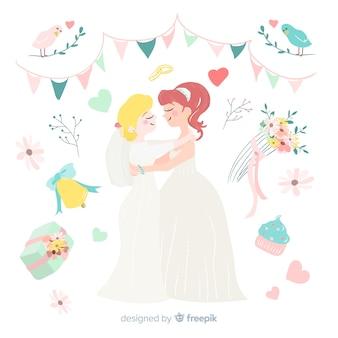 Casal de casamento bonito mão desenhada