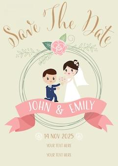 Casal de casamento bonito propor cartão de convite