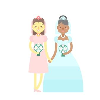 Casal de casamento, bonitos personagens planos, noivas, garotas felizes