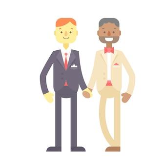 Casal de casamento, bonitos personagens planos, noivos, homens felizes