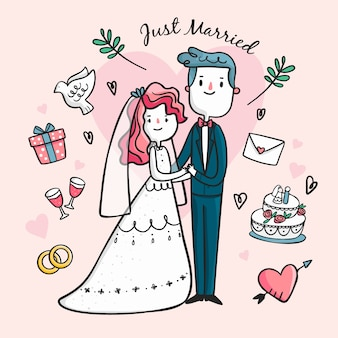 Casal de casamento desenhado à mão ilustrado