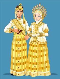 Casal de casamento muçulmano buginês