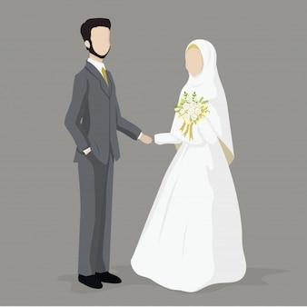 Casal de casamento muçulmano, noiva e noivo