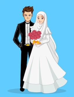 Casal de casamento muçulmano